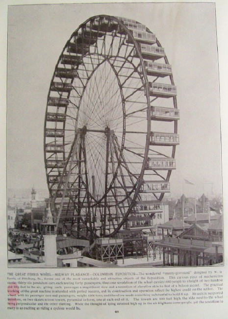 1893 Chicago Worlds Fair Columbian Exposition Ferris Wheel Print